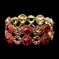 Gold Red and AB Crystal Stretch Bracelet for Wedding or Prom