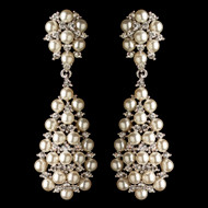 Dramatic Pearl and Rhinestone Dangle Wedding Earrings