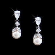 Rhodium Silver Plated CZ and Diamond White Pearl Wedding Earrings