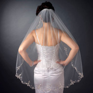 Scalloped Beaded Embroidery Fingertip Length Wedding Veil