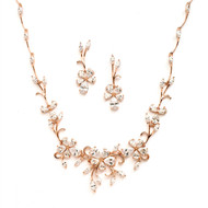 Rose Gold Floral Vine CZ Wedding Jewelry Set