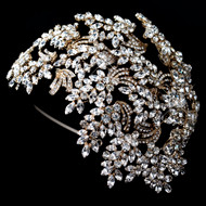 Dramatic Gold Crystal Great Gatsby Style Wedding Headband