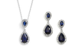 Sapphire Blue CZ Pendant Necklace and Earring Set