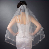 Two Layer Beaded Embroidery Fingertip Length Wedding Veil