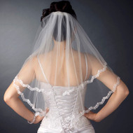 Two Layer Lace Edge Shoulder Length Wedding Veil