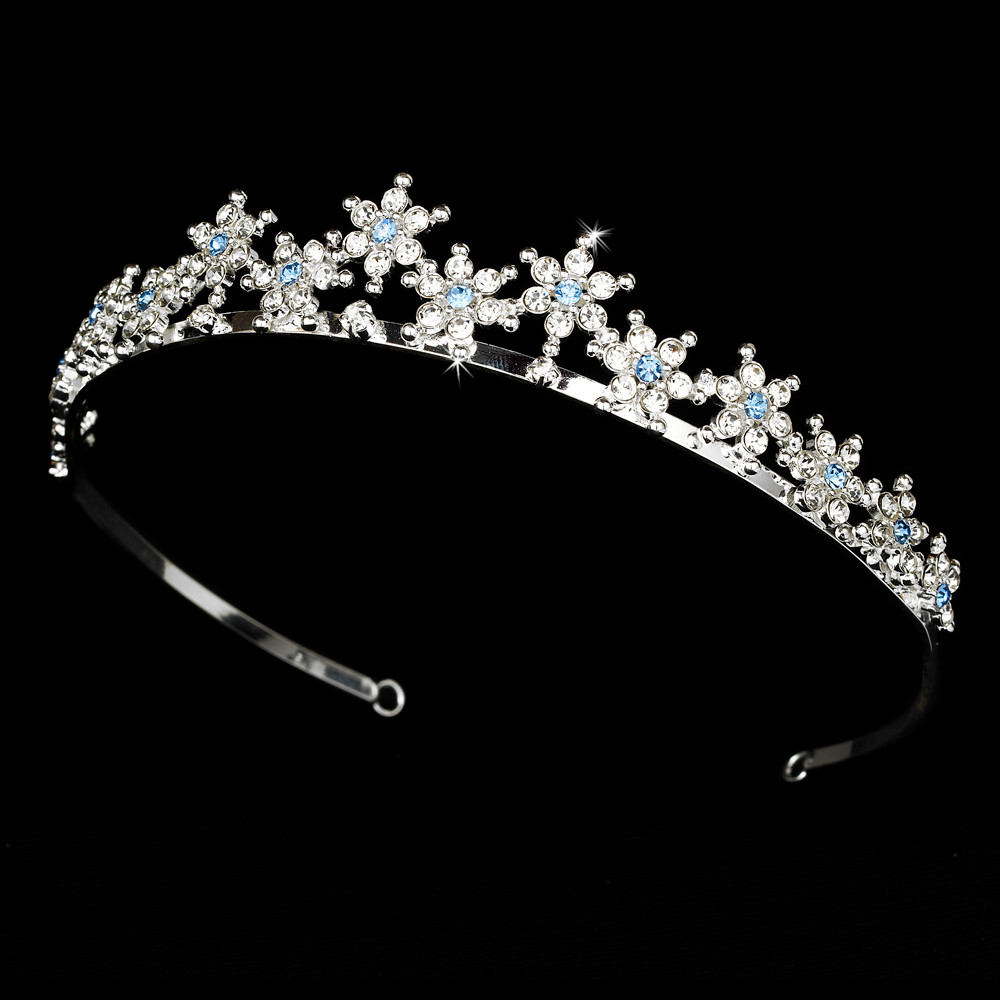 Light Blue Silver Plated Snowflake Winter Wedding Tiara