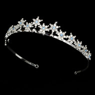 Light Blue Silver Plated Snowflake Winter Wedding Bridal Tiara
