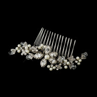 Antique Silver Plated Ivory Pearl Wedding Hair Comb