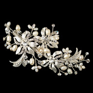 Floral Freshwater Pearl and Crystal Wedding Hair Clip