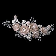 Rum Pink Flower, Pearl and Rhinestone Wedding Hair Comb