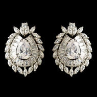 CZ Crystal French Clip Pierced Stud Wedding Earrings
