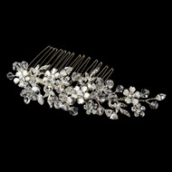 Silver Plated Crystal Floral Wedding Hair Comb