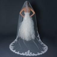 Ivory Cathedral Length Wedding Veil with Scalloped Floral Lace