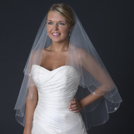 Two Layer Beaded Fingertip Length Wedding Veil with Flower Crystals