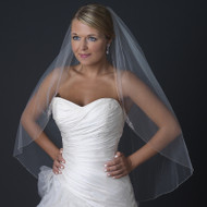 Beaded Fingertip Length Wedding Veil with Rhinestone Accents
