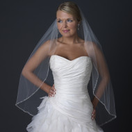 Fingertip Length Wedding Veil with Beaded Pearl Edge
