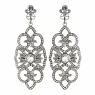 Art Deco Rhinestone Drop Wedding Earrings