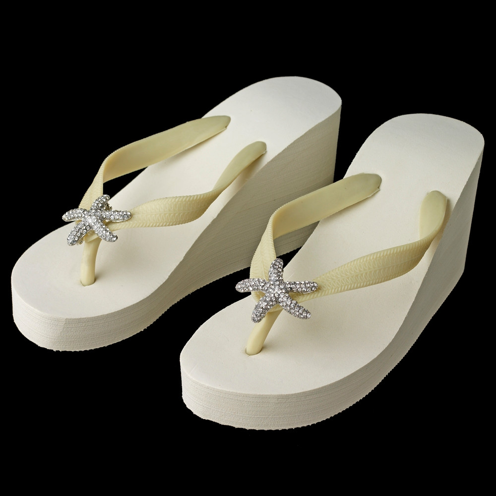 978b16ae8 ... Starfish Rhinestone High Wedge Bridal Flip Flops -White or Ivory. Image  1