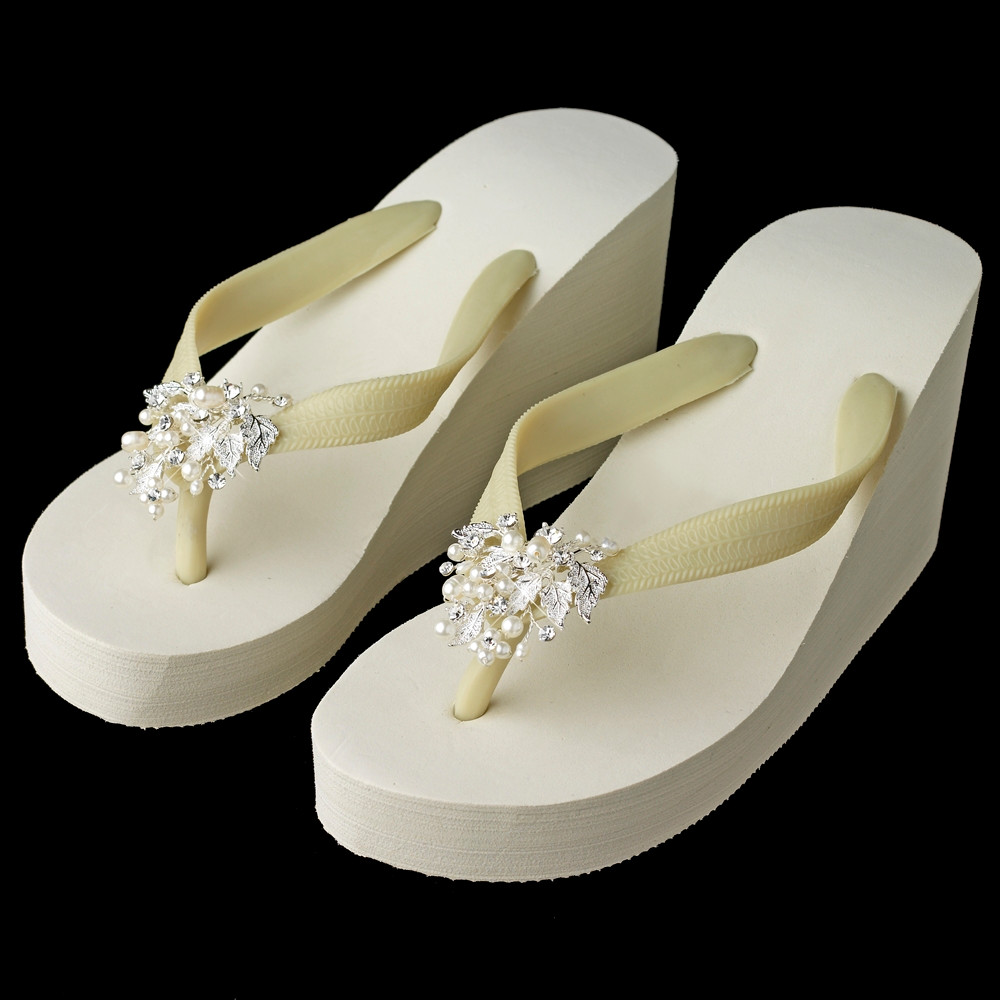 80972fa56 ... Beach Theme Wedding Accessories  High Wedge Bridal Flip Flops with Freshwater  Pearl Accents. Image 1. Image 1. Image 2. See 1 more picture