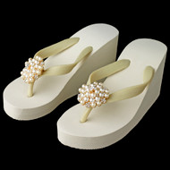 bb9162c23 High Wedge Bridal Flip Flops with Gold Rhinestone and Pearl Accents