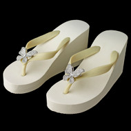 High Wedge Flip Flops with Sparkling Rhinestone Butterfly Detail