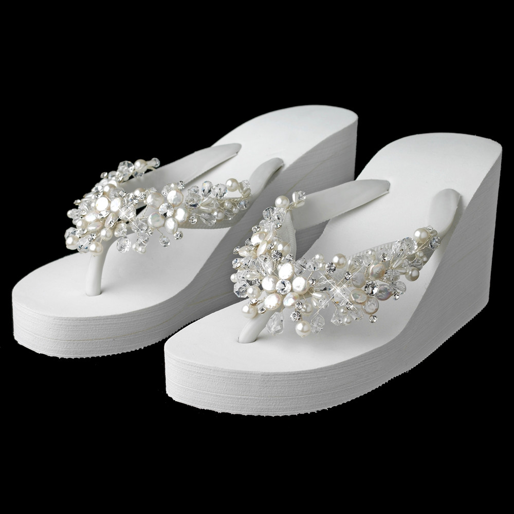 279cf30f450e High Wedge Bridal Flip Flops with Crystal and Pearl Accents