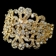 Light Gold Plated Ornate Wedding Cuff Bracelet