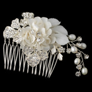 Diamond White Floral Comb with Freshwater Pearls