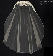 Beaded Alencon Lace Top Fingertip Length Wedding Veil
