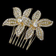 Light Gold Plated Twin Flower Rhinestone Wedding Comb
