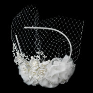 Light Ivory Floral Wedding Headband with Birdcage Blusher Veil