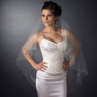 Beaded Two Layer Fingertip Length Wedding Veil with Floral Design