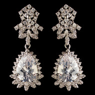 Rhodium Plated Teardrop CZ Wedding Dangle Earrings
