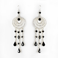 Black Austrian Crystal Chandelier Earrings - sale!