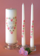 Pink Queen Anne Heart  Personalized Unity Candle Set