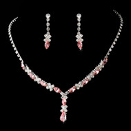 Silver Plated Pink Rhinestone Prom and Bridesmaid Jewelry