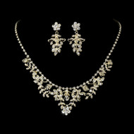 Gold Plated Crystal Floral Wedding Jewelry Set