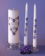 Purple Queen Anne Heart  Personalized Unity Candle Set
