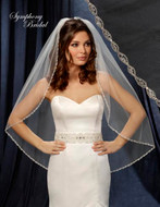 Rhinestone Beaded Wedding Veil 6218VL by Symphony Bridal