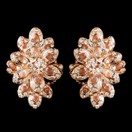 Sparkling Rose Gold Plated Rhinestone Clip On Wedding Earrings
