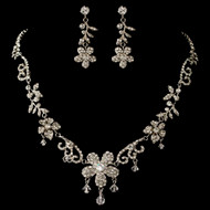 Crystal and Rhinestone Flower Wedding Jewelry Set ne3371