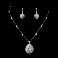 CZ Crystal Pendant and Earrings Wedding Jewelry Set ne8609