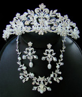 Crystal and Pearl Wedding or Quince Tiara and Matching Jewelry