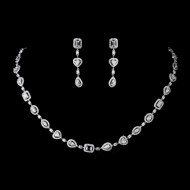 Romantic Vintage Inspired CZ Heart Wedding Necklace and Earrings