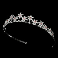 Pink Silver Plated Snowflake Winter Wedding Bridal Tiara