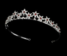 Burgundy Red Silver Plated Snowflake Winter Wedding Bridal Tiara