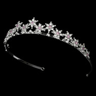 Light Amethyst Silver Plated Snowflake Wedding Tiara