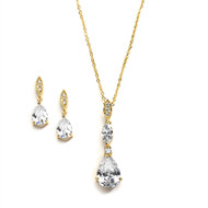 CZ Drop Gold Plated Wedding Jewelry