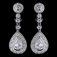 CZ Crystal Clip On Wedding Earrings
