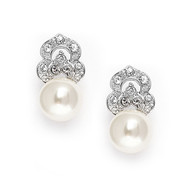 Pearl and CZ Bridal Earrings by Mariell 3827e